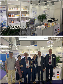 The Kreussler team at the booth: Zhang Bei (Skeech), Yu Ping Ting, Jürgen Bobist, Hu Yu Ying, Steven Champion, Dr Manfred Seiter (from left)